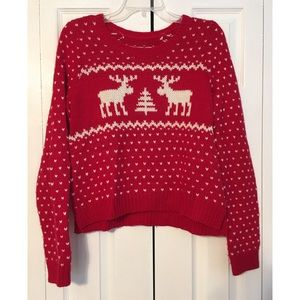Abercrombie & Fitch Cozy Red Christmas Sweater